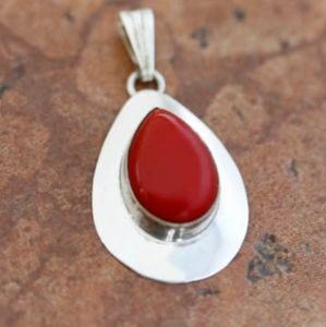 Navajo Sterling Silver and Coral Pendant